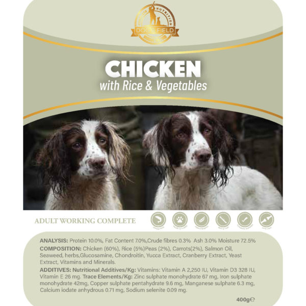 chicken & veg with rice wet dog food tray