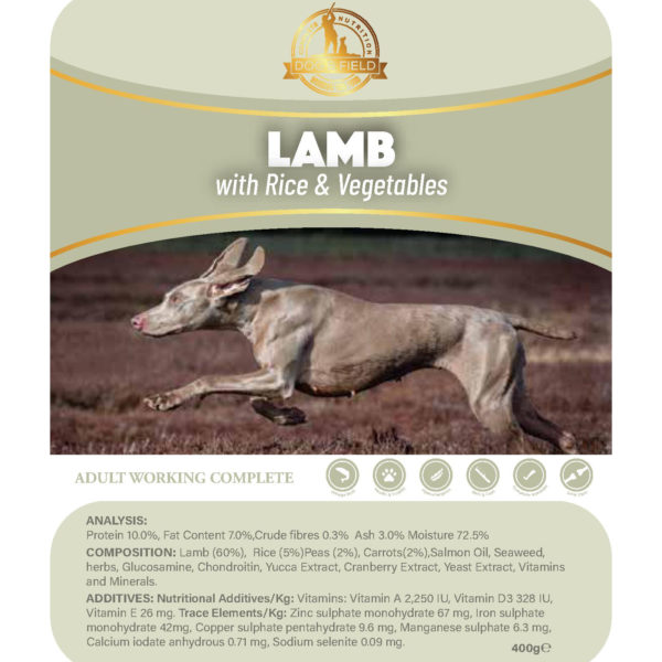 lamb with vegetables and rice wet dog food