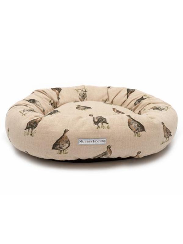 Grouse Linen Donut Dog Bed