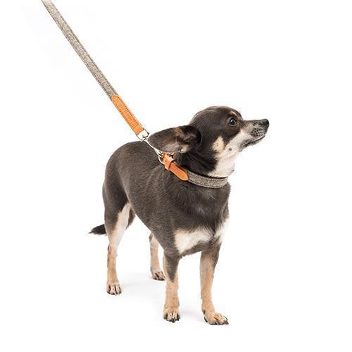 Camello Leather & Grey Tweed Dog Lead