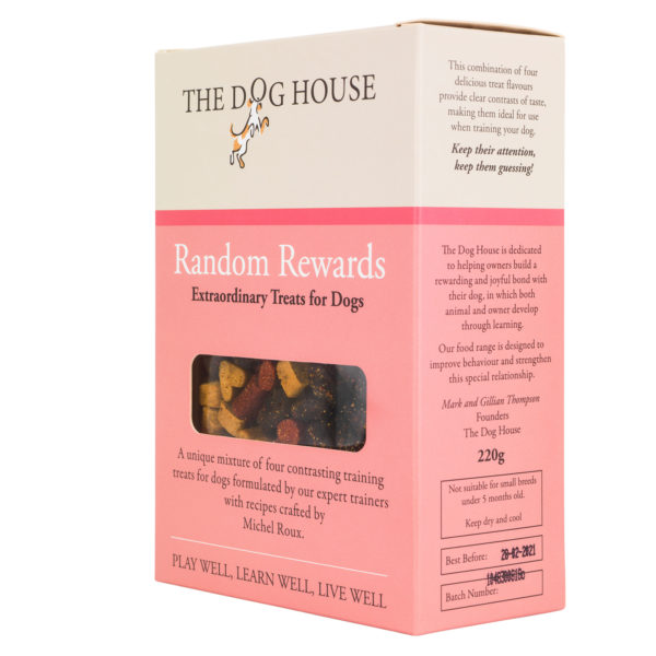 random rewards dog biscuit box